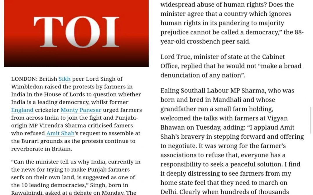 Sikh peer in House of Lords raises kisan protest to question. Times Of India
